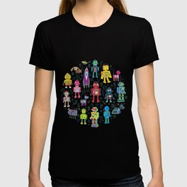 Robots in Space - on black T-shirt