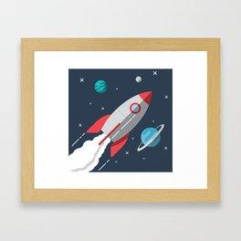 Little Astronaut Rocket Adventure Framed Art Print