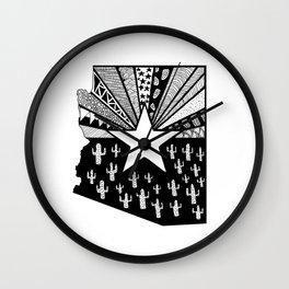 Black and White Arizona Patterned State Map Wall Clock