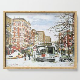 East Village In Snow, New York City Serving Tray