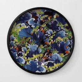 Lichens in blue Wall Clock