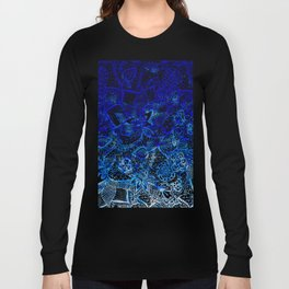 Modern china blue ombre watercolor floral lace hand drawn illustration Long Sleeve T-shirt