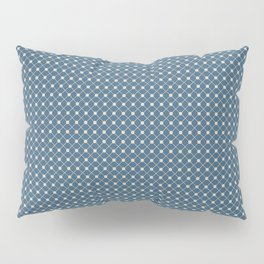 Beige Angled Polka Dot Grid Line Pattern on Blue Pairs To 2020 Color of the Year Chinese Porcelain Pillow Sham