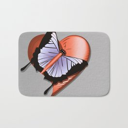 Beautiful butterfly and heart on polished metal textured background Bath Mat