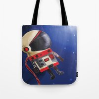 spaceman Tote Bags featuring Spaceman by Sally Darby Illustration