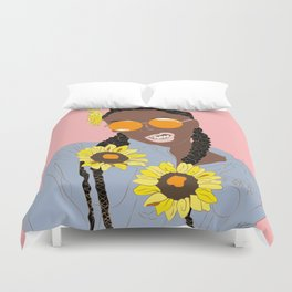Black Flower Goddess - Digital Vector Drawing Duvet Cover