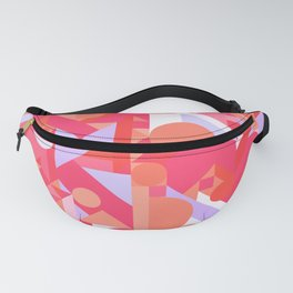 GEOMETRY SHAPES PATTERN PRINT (WARM RED LAVENDER COLOR SCHEME) Fanny Pack