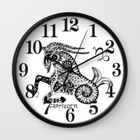 capricorn Wall Clocks featuring Capricorn by Anna Shell
