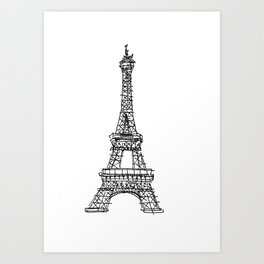 Eiffel Tower Graphic Pen Sketch Art Print