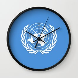 Flag on United nations -Un,World,peace,Unesco,Unicef,human rights,sky,blue,pacific,people,state,onu Wall Clock