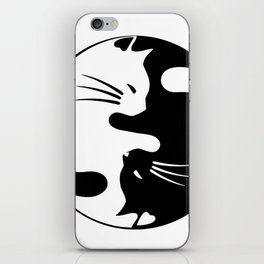 black and white cat yinyang iPhone Skin
