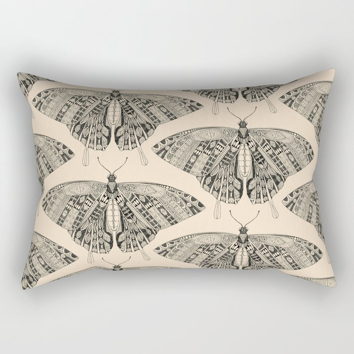 swallowtail butterfly pale peach black Rectangular Pillow