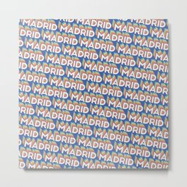 Madrid, Spain Trendy Rainbow Text Pattern (Blue) Metal Print
