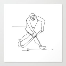Field Hockey Player Continuous Line Canvas Print