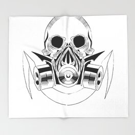 skull wearing a gas mask. vector with signature Throw Blanket