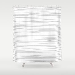 Horizontal Black Stripes on White Shower Curtain