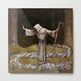 """Brother Martin"" Watercolor by John Bauer Metal Print"