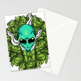 Alien Smoking Weed Funny Marijuana print Stationery Cards