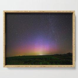 Colorful Aurora Borealis Night Sky Serving Tray