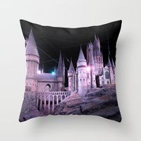 hogwarts Throw Pillows featuring Hogwarts by Anabella Nolasco