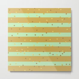 Christmas Golden confetti on Gold and Mint Green Stripes Metal Print