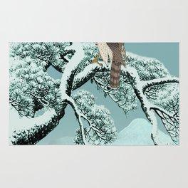 Hawk on Snowy Pine Rug