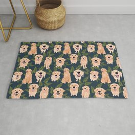 Golden Retrievers and Ferns on Navy Rug