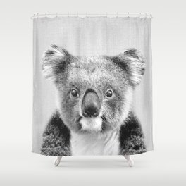 Koala - Black & White Shower Curtain
