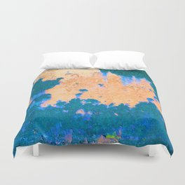 Abstract Complementary Color Rusty Metal Detail Duvet Cover
