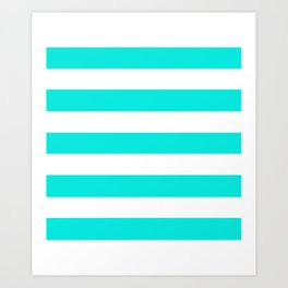 Bright turquoise - solid color - white stripes pattern Art Print