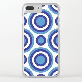 Circle Circle:  Turquoise, White + Navy Clear iPhone Case