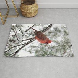Wet Snow Cardinal (vertical) Rug