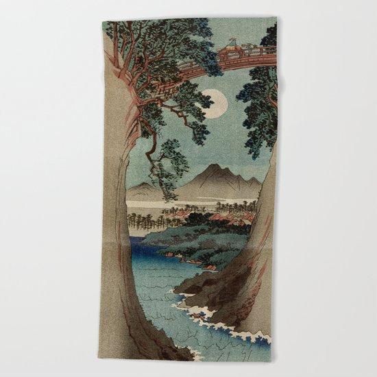 Saruhashi Bridge in Kai Province Japan Beach Towel
