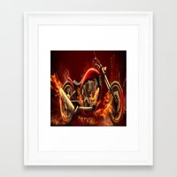 motorbike Framed Art Prints featuring FIRE MOTORBIKE by Acus