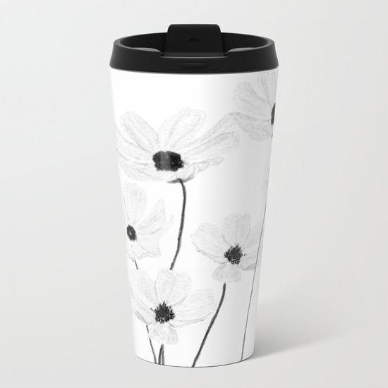 black and white cosmos Metal Travel Mug
