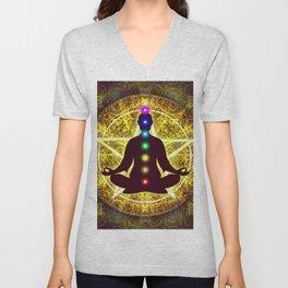 In Meditation With Chakras - Spiritual I Unisex V-Neck