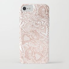 Chic hand drawn rose gold floral mandala pattern Slim Case iPhone 7