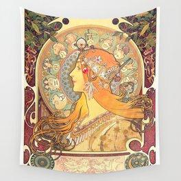 Zodiac (1869) by Alphonse Mucha Wall Tapestry