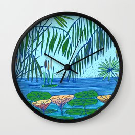 Tropical lilypond Wall Clock