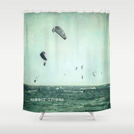 Summer dreams. Kite surf Shower Curtain