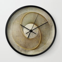 Geometrical Line Art Circle Distressed Gold Wall Clock