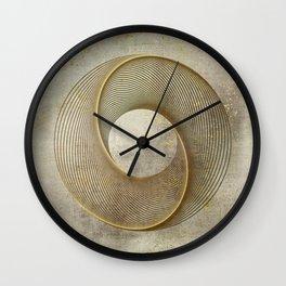Geometrical Line Art Circle Distressed Gold Wall Clock