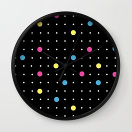 Pin Points CMYK Black Wall Clock