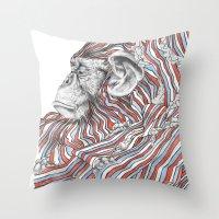 ape Throw Pillows featuring Ape by Guillem Bosch