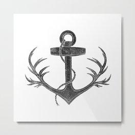 Antlered Anchor Metal Print