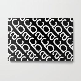 ABC pattern black and white Metal Print
