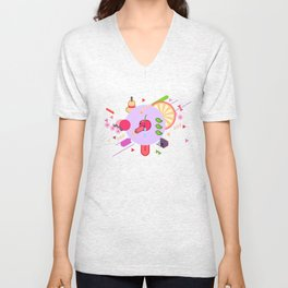 Tasty Visuals - Cherry Poppin' (No Grid) Unisex V-Neck
