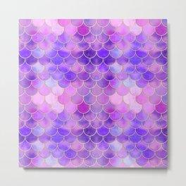 Ultra Violet & Gold Mermaid Scale Pattern Metal Print