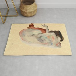 Egon Schiele - Crouching Nude In Shoes And Black Stockings Rug