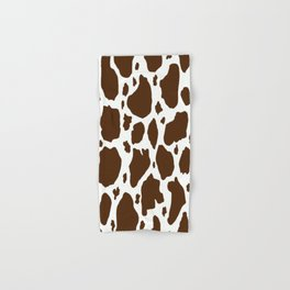 cow spots animal print dark chocolate brown white Hand & Bath Towel